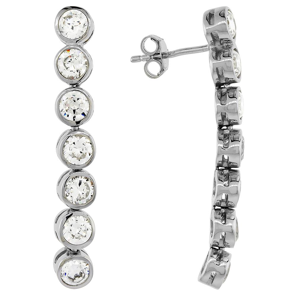 Sterling Silver Cubic Zirconia Raindrop Earrings 5 mm Bezel, 1 3/8 inch long