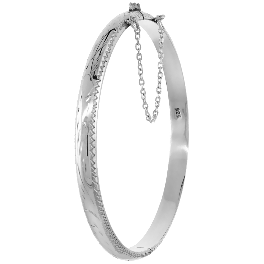 Sterling Silver Baby Bracelet Bangle 6 inch Junior Floral Engraving Safety Chain 3/16 inch wide