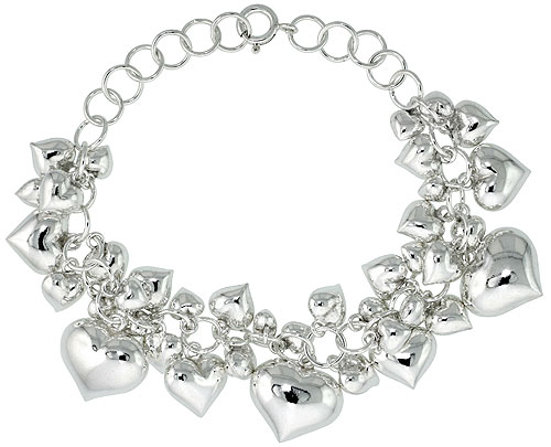 Sterling Silver Hearts Cluster Bracelet 9/16 inch wide, 7 - 8 inch long