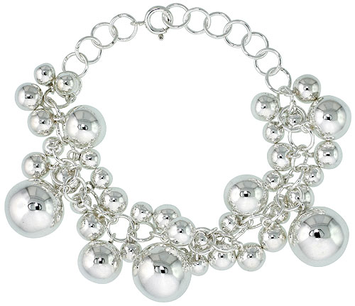 Sterling Silver Ball Cluster Bracelet 9/16 inch wide, 7 - 8 inch long