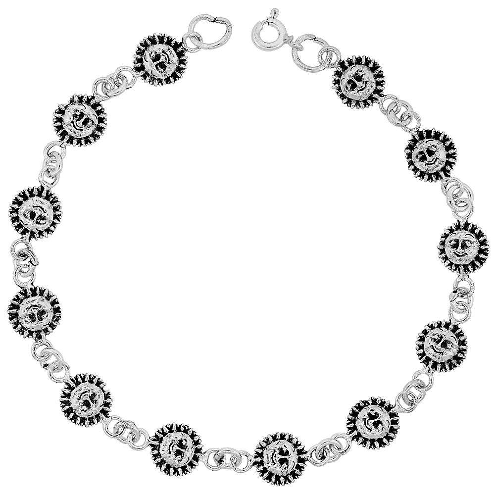 Sterling Silver Dainty Sun Bracelet for Women and Girls, 3/8 wide 7.5 inch long