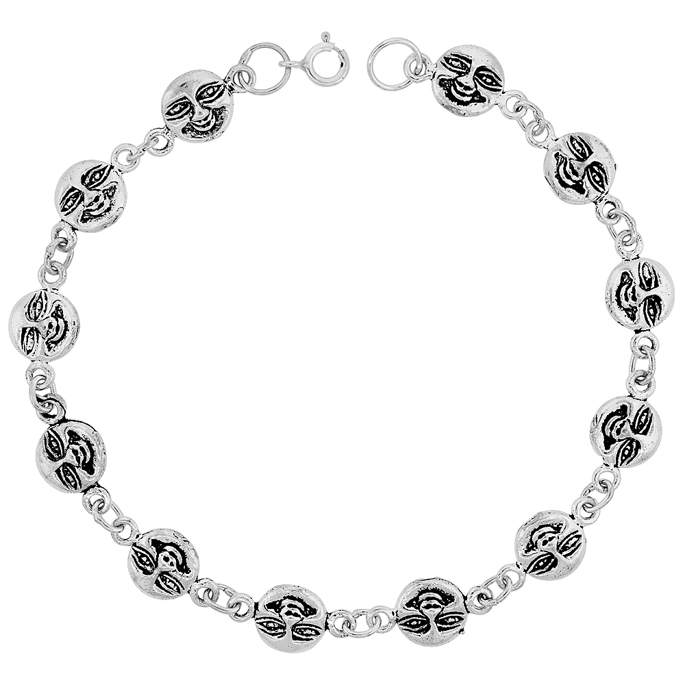 Sterling Silver Dainty Happy Face Bracelet for Women and Girls, 3/8 wide 7.5 inch long