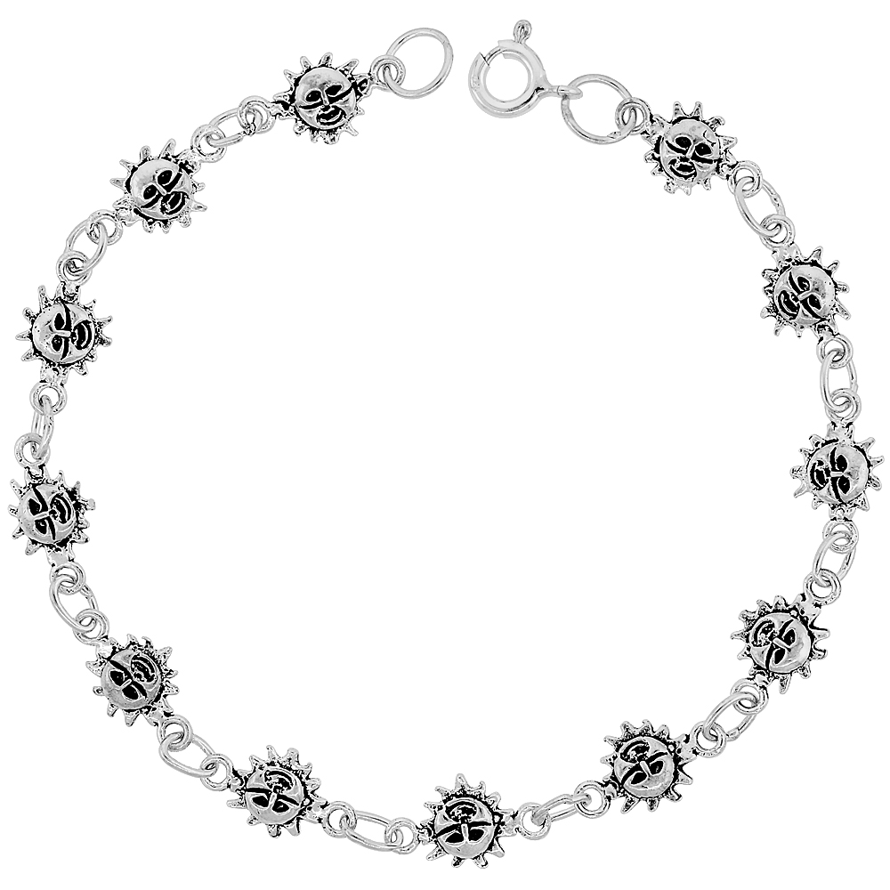 Sterling Silver Dainty Sun Bracelet for Women and Girls, 1/4 wide 7.5 inch long