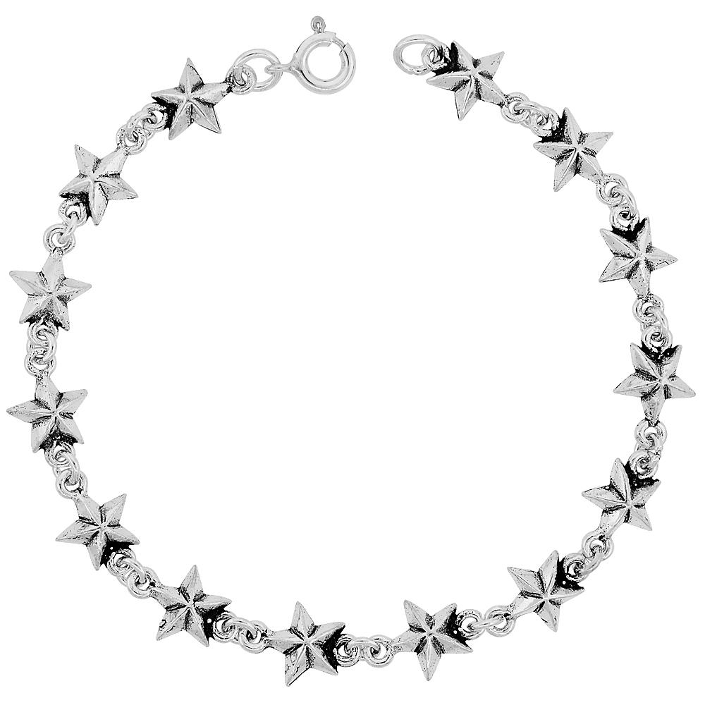Sterling Silver Dainty Star Bracelet for Women and Girls, 3/8 wide 7.5 inch long