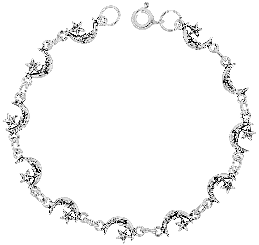 Dainty Sterling Silver Moon & Star Bracelet for Women and Girls, 1/4 wide 7.5 inch long