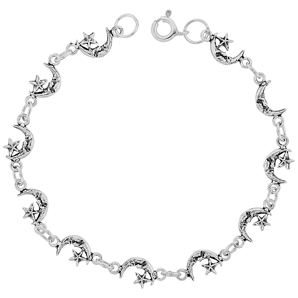 Dainty Sterling Silver Moon & Star Bracelet for Women and Girls, 1/4 wide 7.5 inch long