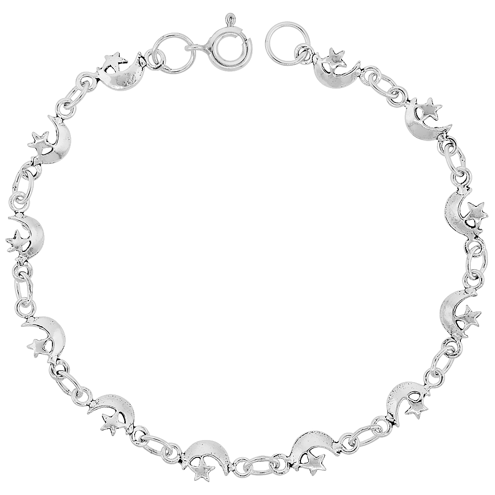 Sterling Silver Dainty Moon and Star Bracelet for Women and Girls, 1/4 wide 7.5 inch long