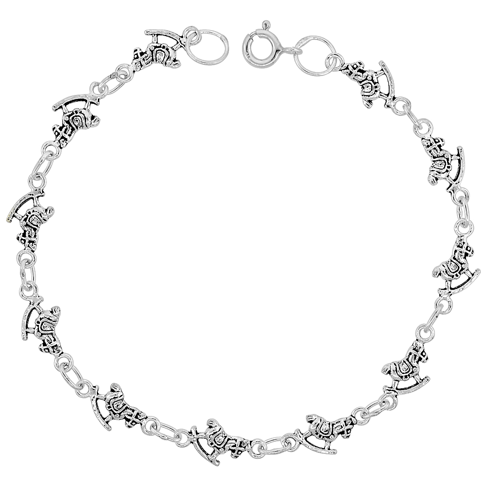 Sterling Silver Dainty Rocking Horse Bracelet for Women and Girls, 1/4 wide 7.5 inch long
