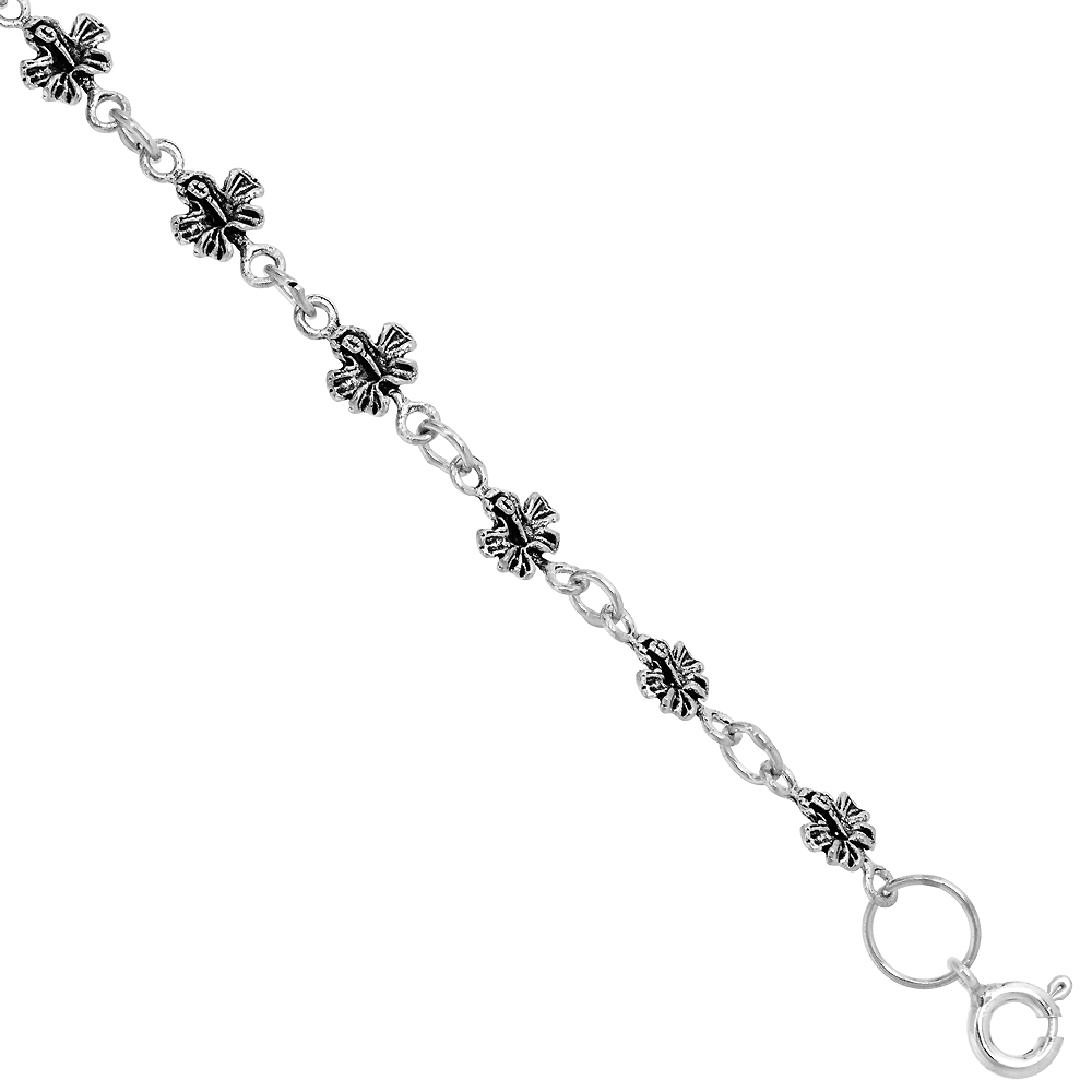 Dainty Sterling Silver Butterfly Bracelet for Women and Girls, 1/4 wide 7.5 inch long