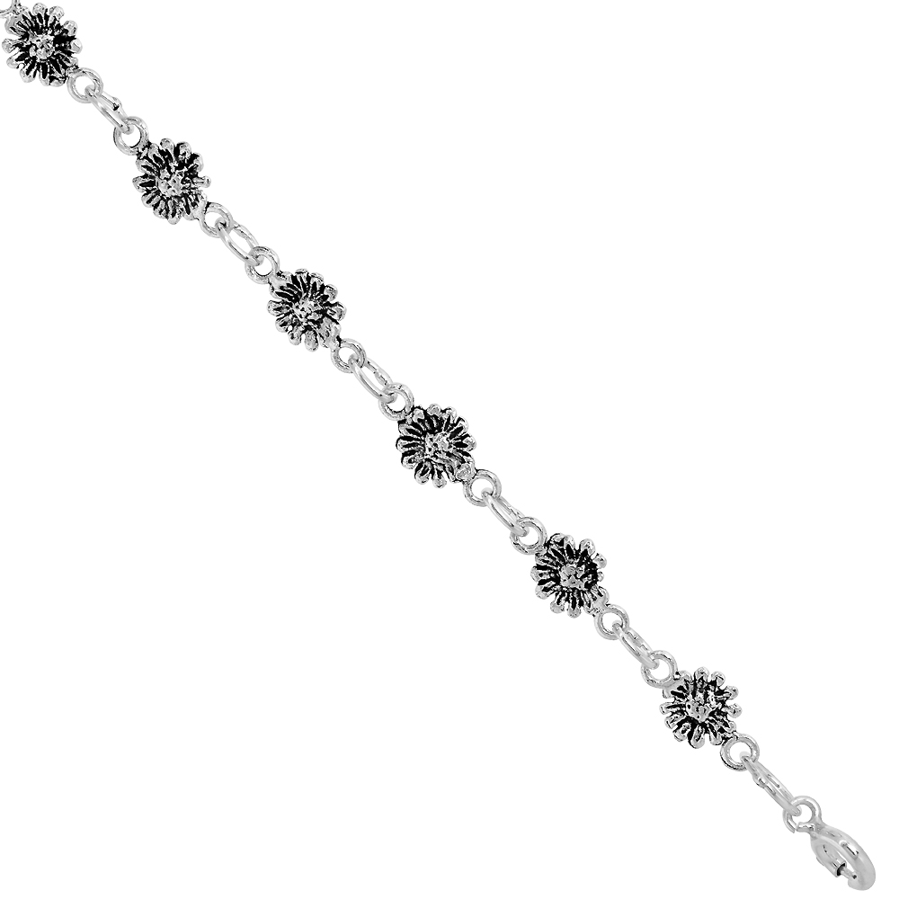 Dainty Sterling Silver Sunflower Bracelet for Women and Girls, 1/4 wide 7.5 inch long
