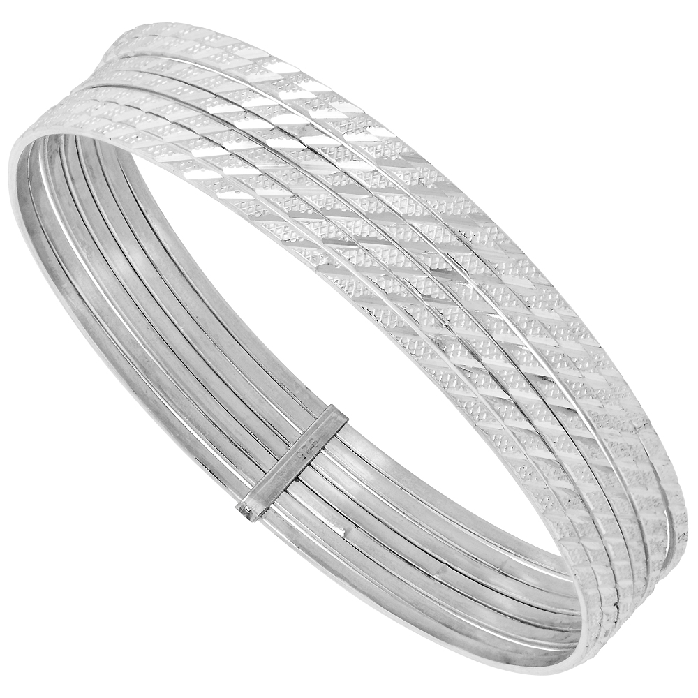 Sterling Silver 7-day Diamond cut Bangle Striped, fits 7.5 inch wrists