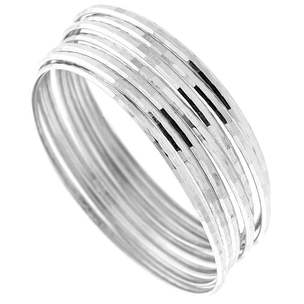 Sterling Silver 7-day Diamond cut Bangle, fits 7.5 inch wrists