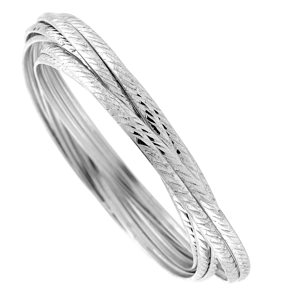 Sterling Silver 7-day Diagonal Diamond cut Bangle, fits 7 inch wrists