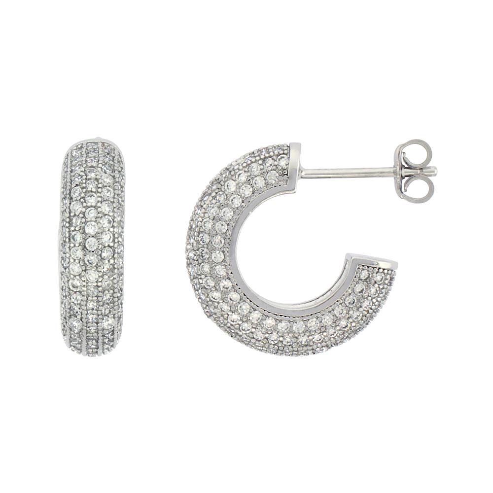 Sterling Silver Cubic Zirconia Micro Pave Post Hoop Earrings 5/8 inch