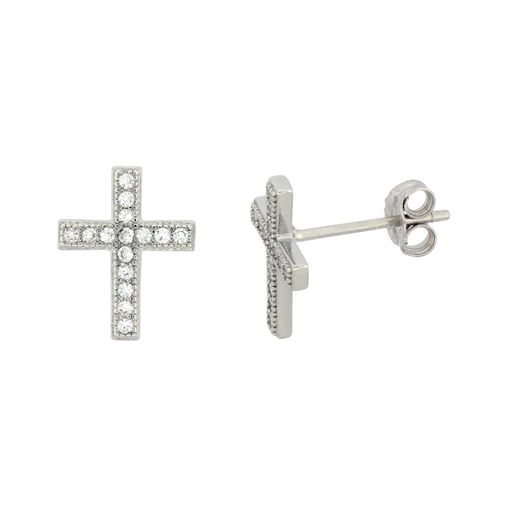 Sterling Silver Cubic Zirconia Cross Stud Earrings Micro Pave 1/2 inch