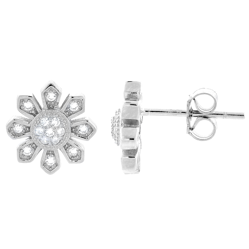 Sterling Silver Cubic Zirconia Micro Pave Sun Stud Earrings 3/8 inch wide