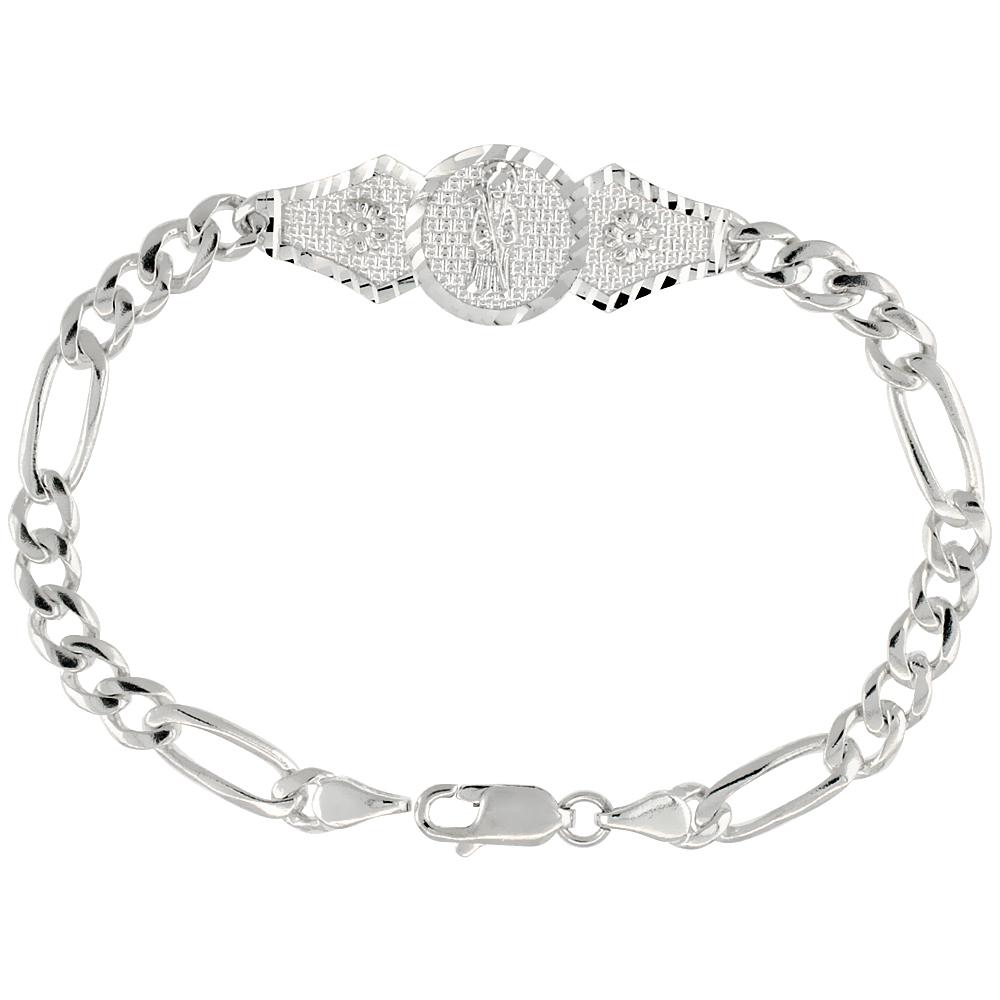 Sterling Silver Santa Muerte Figaro Link Bracelet 1/2 inch wide, 7 inch long