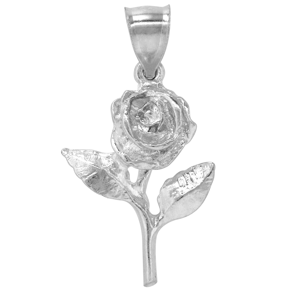 Sterling Silver Rose Pendant, 1 1/16 inch Tall