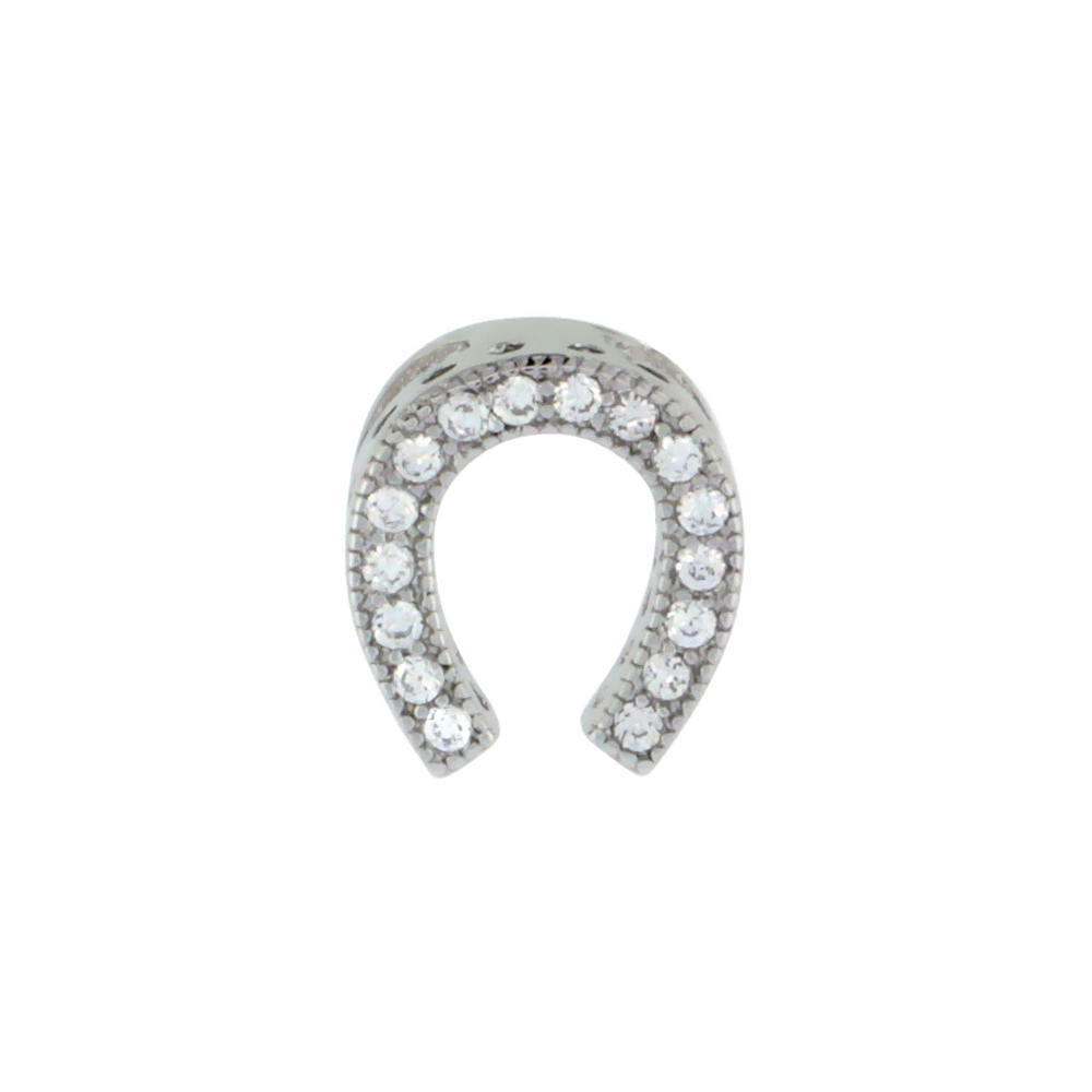 Sterling Silver Cubic Zirconia Horseshoe Pendant Micro Pave 3/8 inch