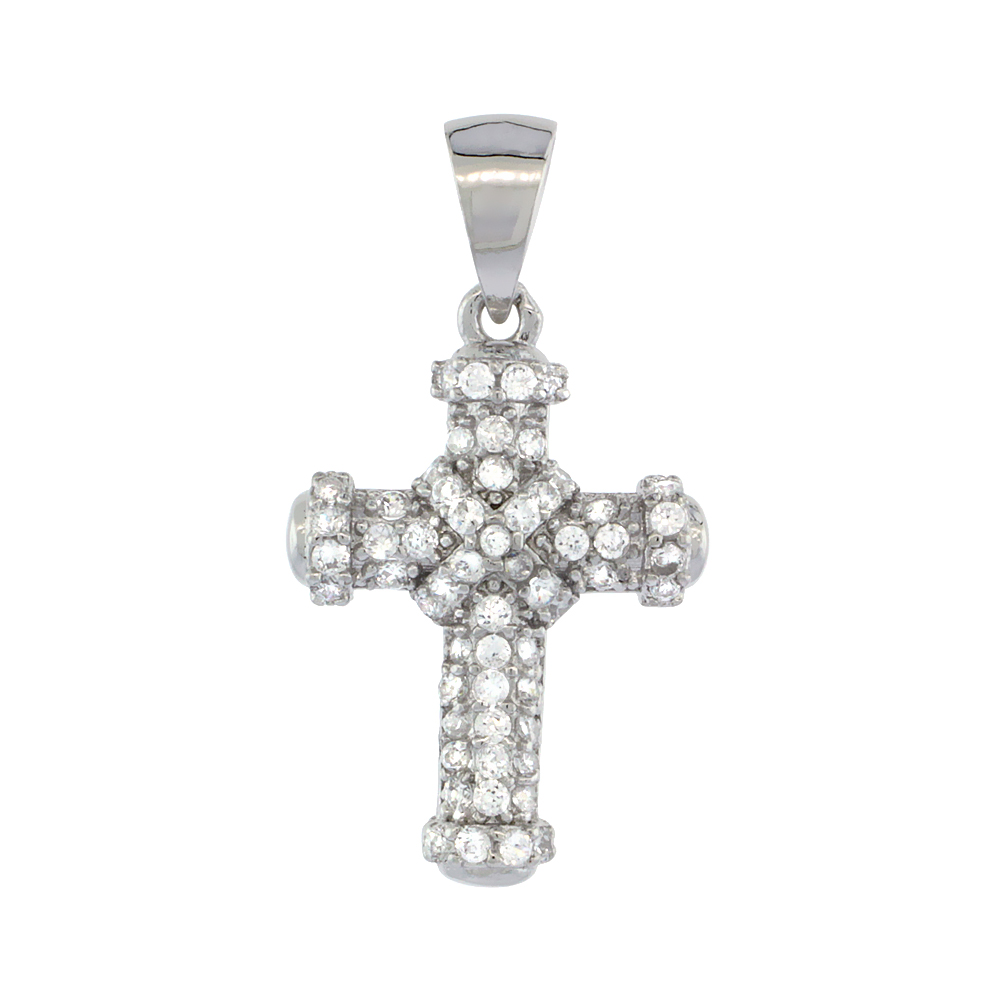 Sterling Silver Cubic Zirconia Rope Cross Pendant Micro Pave 3/4 inch