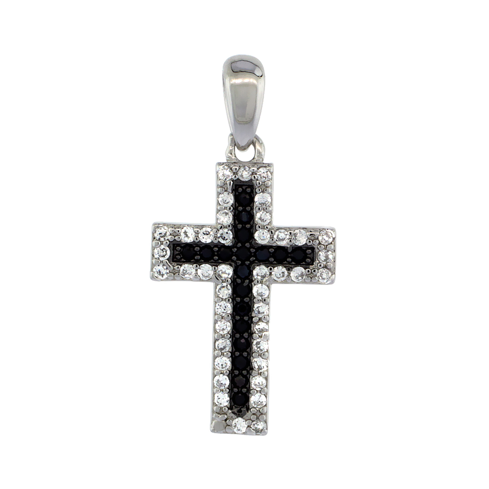 Sterling Silver Black & White CZ Cross Pendant Micro Pave 3/4 inch