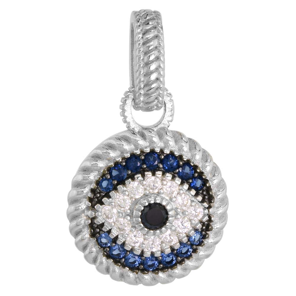 Sterling Silver Evil Eye Pendant Micro Pave Synthetic Blue Sapphire & CZ, NO CHAIN