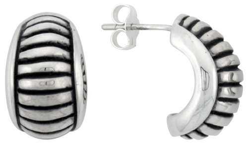 Sterling Silver Half Hoop Bali Style Post Earrings, w/ Horizontal Line Pattern, 5/8 inch (16 mm) tall