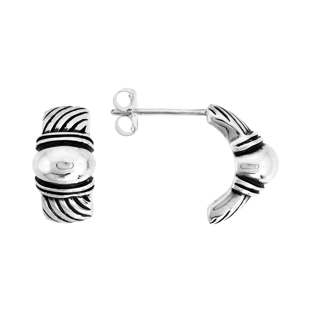 Sterling Silver Half Hoop Bali Style Post Earrings, w/ Diagonal Line Pattern, 1/2 inch (15 mm) tall