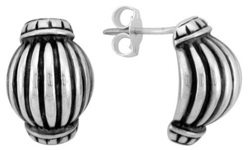 Sterling Silver Half Hoop Bali Style Post Earrings, w/ Vertical Line Pattern, 1/2 inch (15 mm) tall