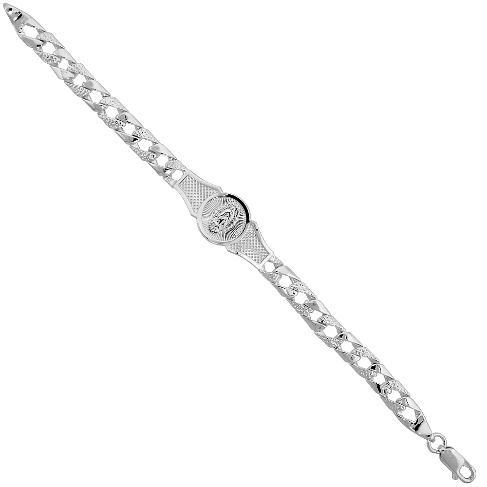 Sterling Silver Pave Curb Link Our Lady of Guadalupe 6 in. Baby Bracelet, 1/4 inch (6 mm) wide