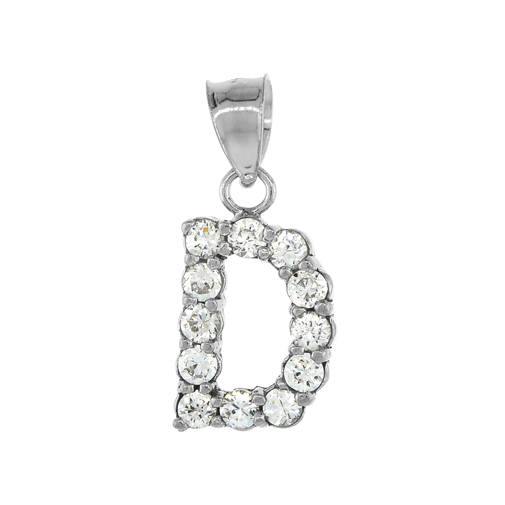 Sterling Silver Cubic Zirconia Initial Letter D Alphabet Pendant Rhodium Finish, 18 inch box_15