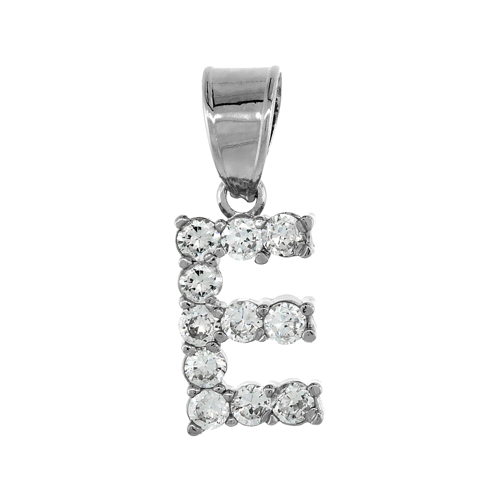 Sterling Silver Cubic Zirconia Initial Letter E Alphabet Pendant Rhodium Finish, 18 inch box_15