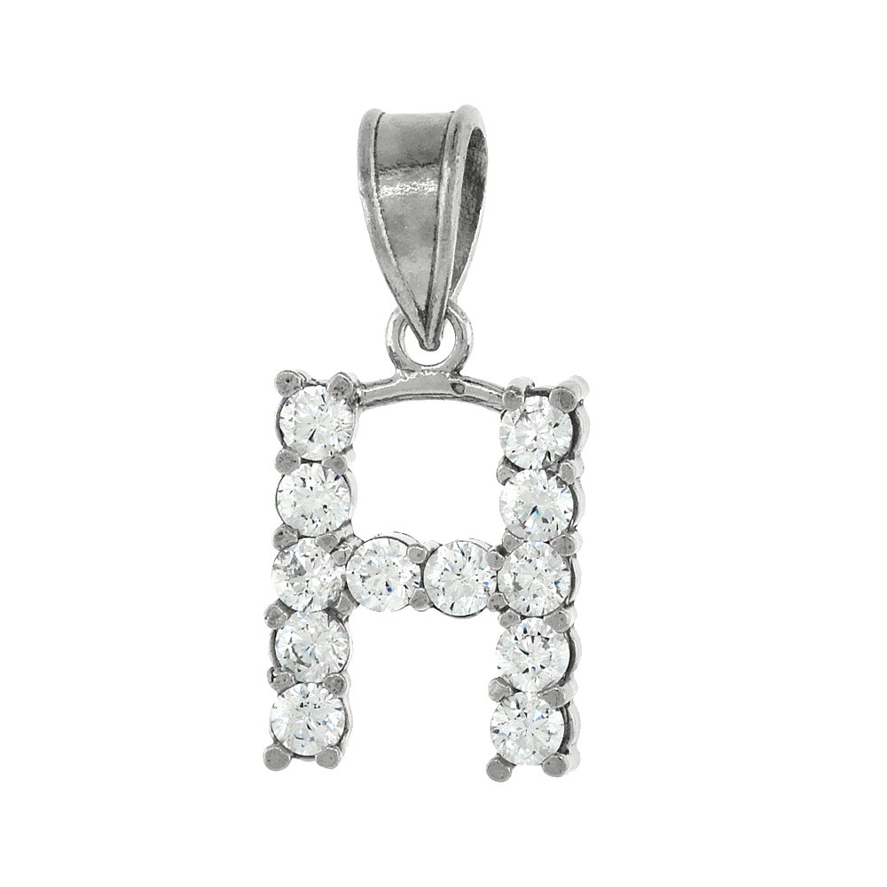 Sterling Silver Cubic Zirconia Initial Letter H Alphabet Pendant Rhodium Finish, 18 inch box_15
