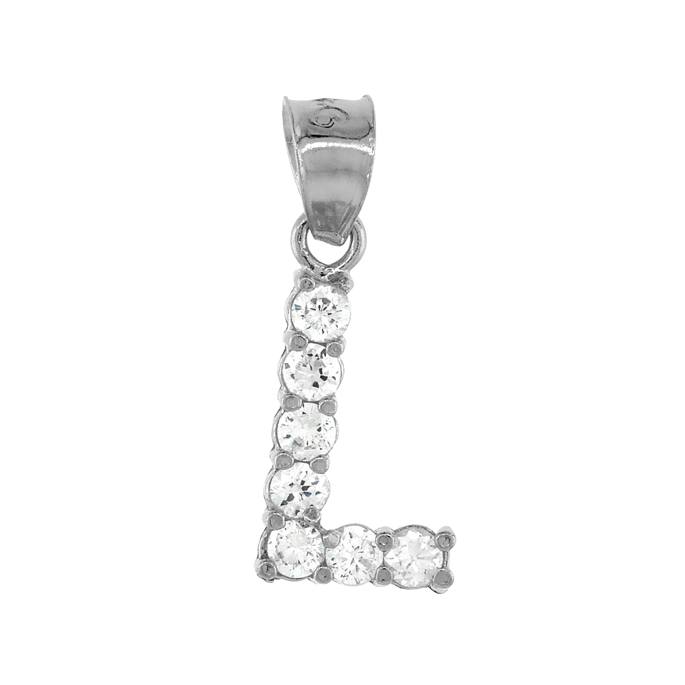 Sterling Silver Cubic Zirconia Initial Letter L Alphabet Pendant Rhodium Finish, 18 inch box_15