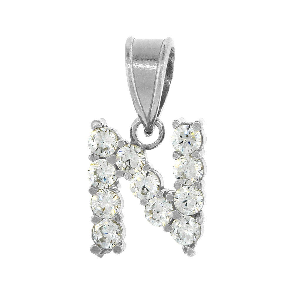 Sterling Silver Cubic Zirconia Initial Letter N Alphabet Pendant Rhodium Finish, 18 inch box_15