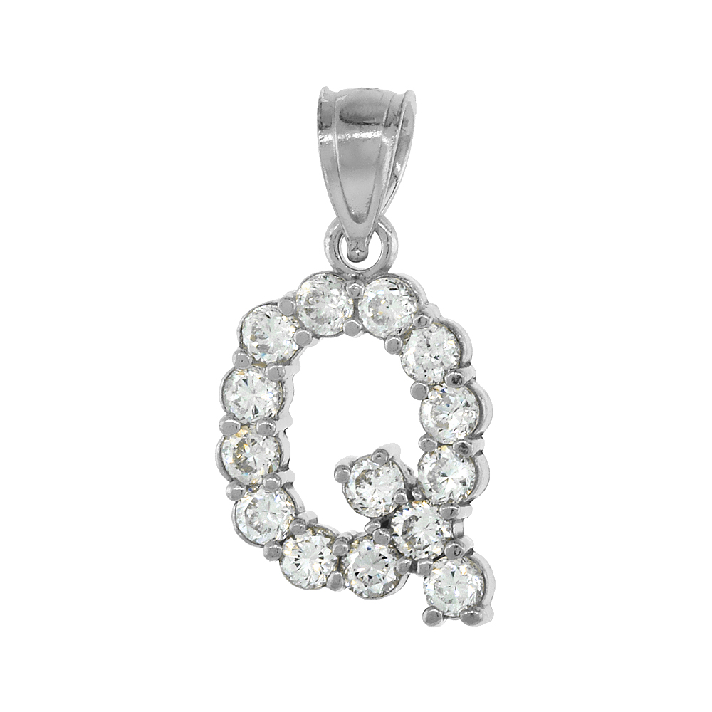 Sterling Silver Cubic Zirconia Initial Letter Q Alphabet Pendant Rhodium Finish, 18 inch box_15