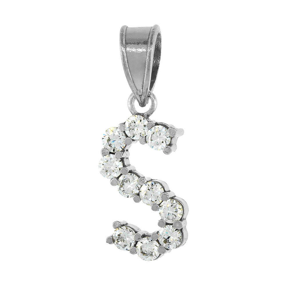 Sterling Silver Cubic Zirconia Initial Letter S Alphabet Pendant Rhodium Finish, 18 inch box_15