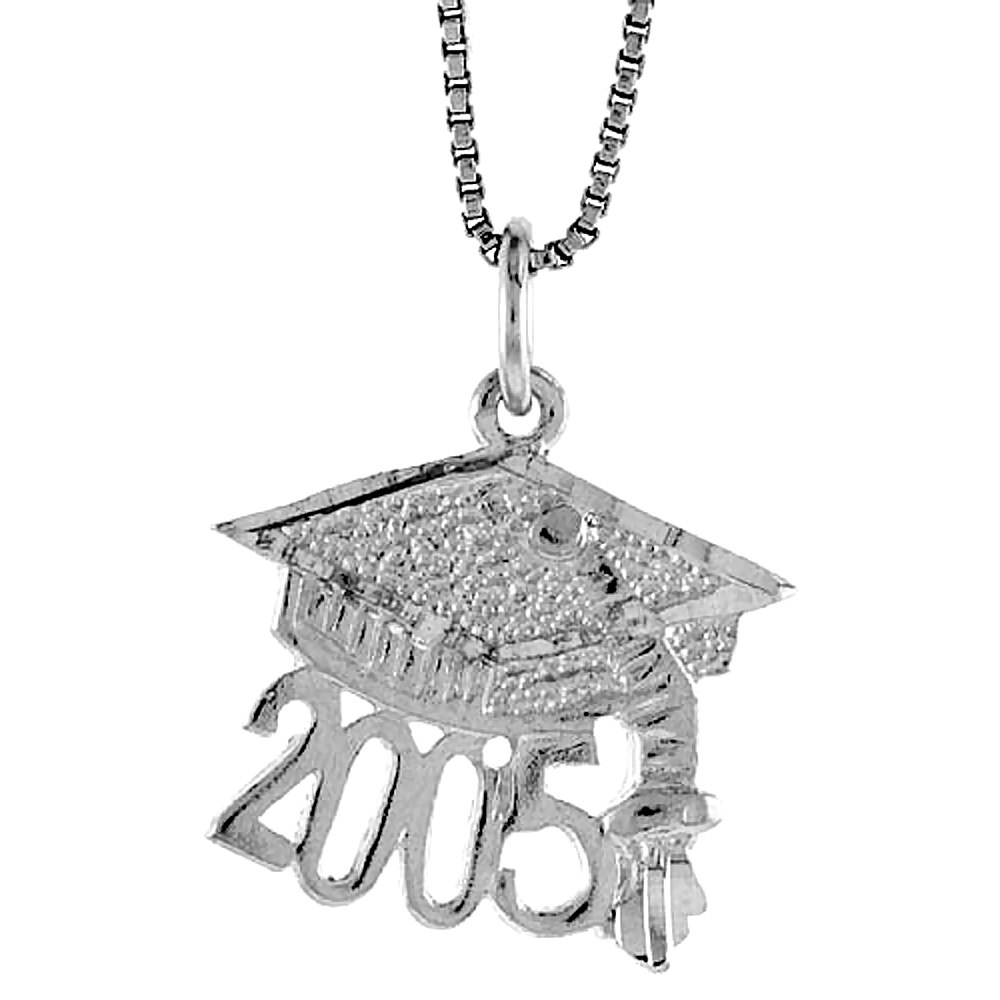 Sterling Silver Graduation Pendant, 1/2 inch Tall