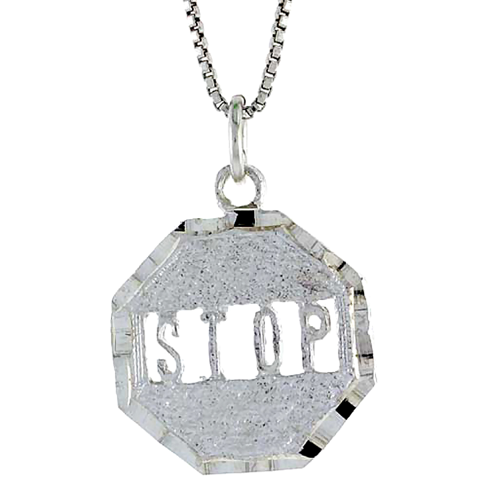 Sterling Silver Stop Sign Pendant, 7/8 inch Tall