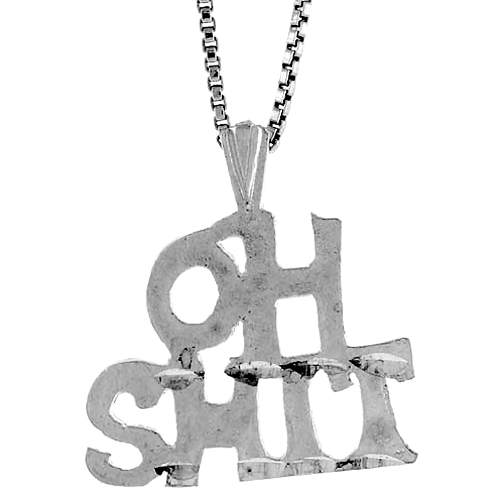 Sterling Silver OH SH** Word Pendant, 1/2 inch Tall