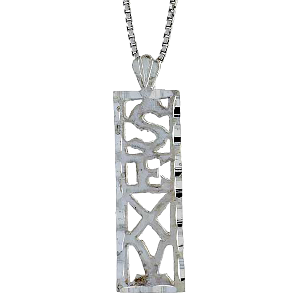 Sterling Silver SEXY Word Pendant, 7/8 inch Tall