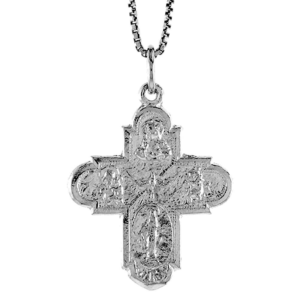 Sterling Silver Crucifix Pendant, 1 1/8 inch