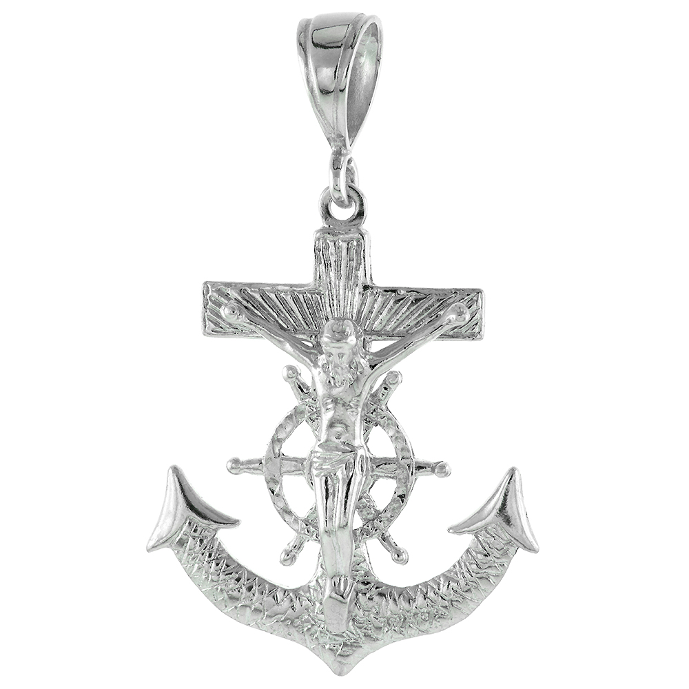 Very Large Sterling Silver Anchor Cross Mariners Cross Pendant 12mm Bale Textured Heavy, 2 3/8 inch