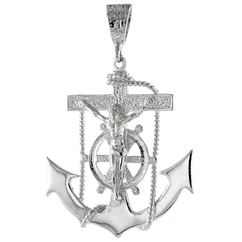 Large Sterling Silver Anchor Cross Mariners Cross Pendant 8mm Bale Polished Heavy, 2 inch