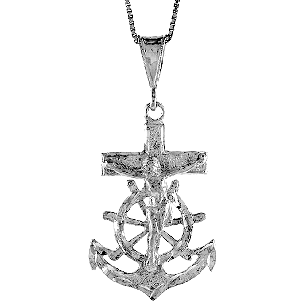 Sterling Silver Mariners Anchor Cross Pendant, 1 1/2 inch