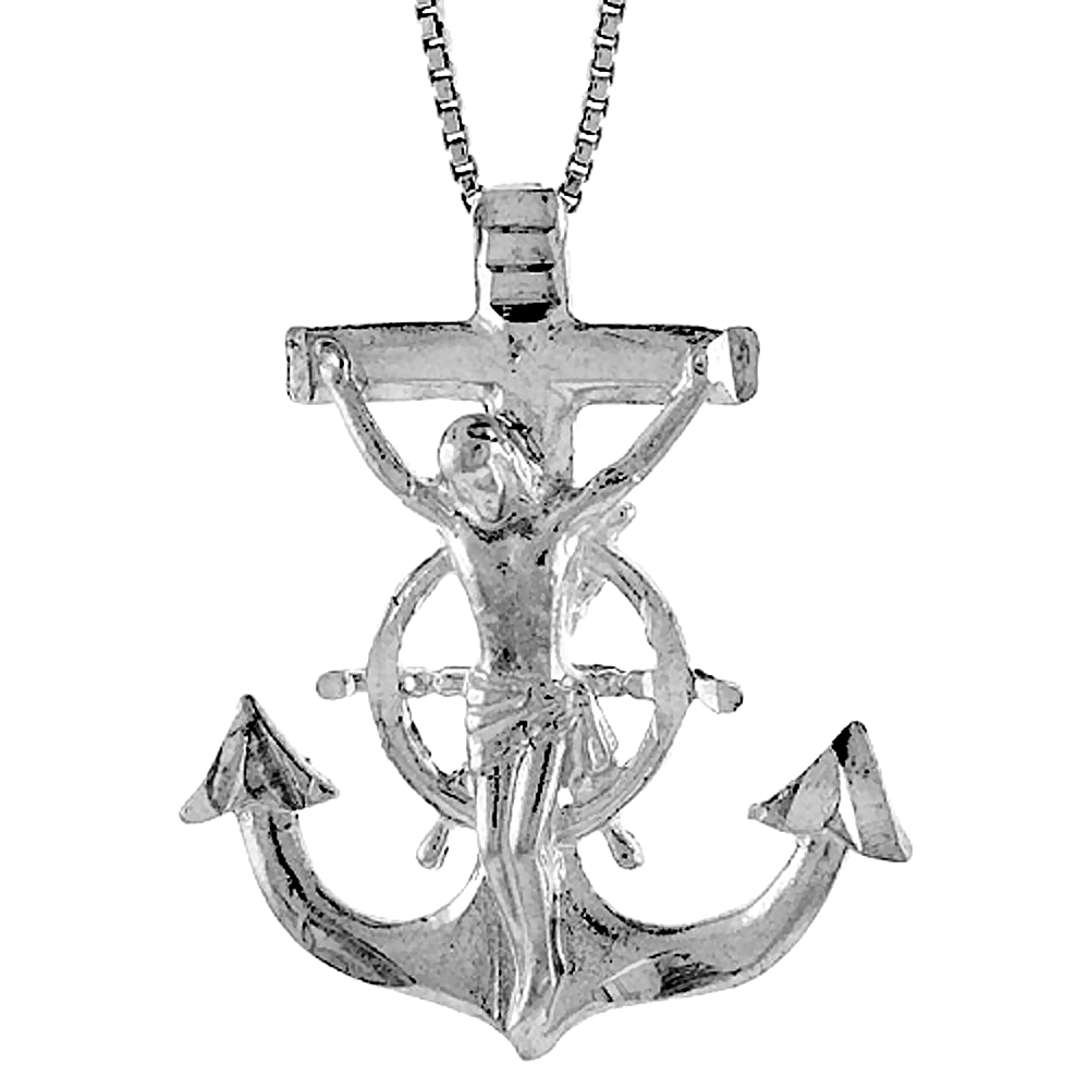 Sterling Silver Mariners Anchor Cross Pendant, 1 1/4 inch
