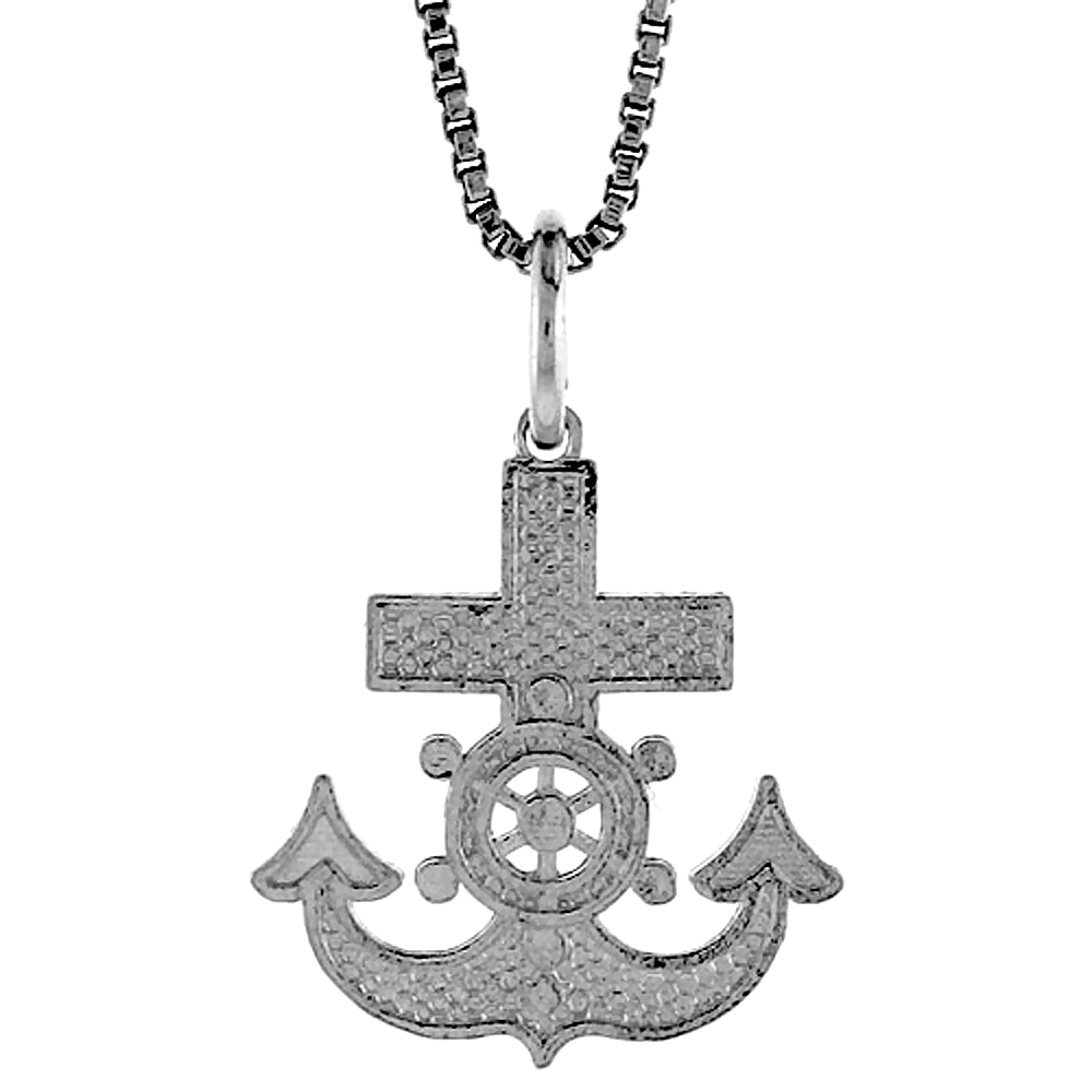 Sterling Silver Anchor Pendant, 5/8 inch