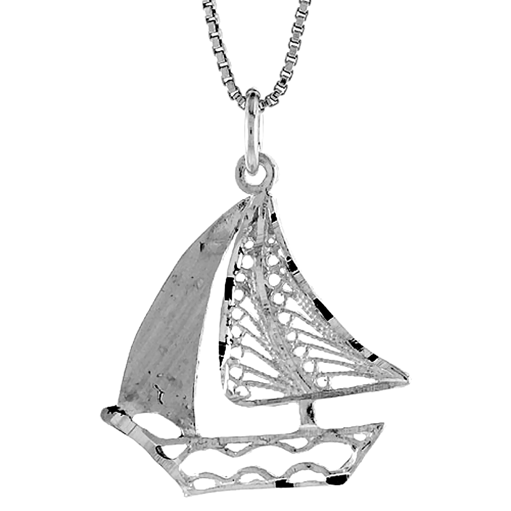 Sterling Silver Filigree Sailboat Pendant, 1 inch
