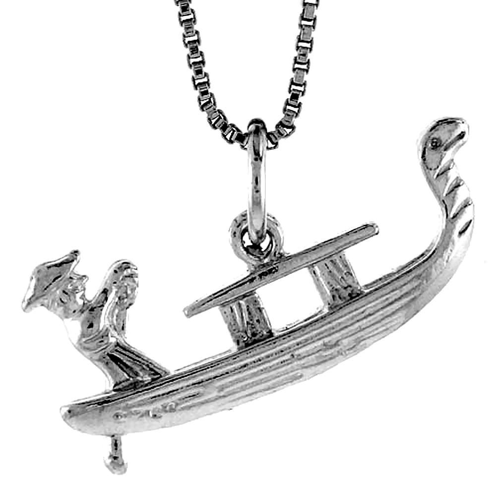 Sterling Silver Gondola Pendant, 1 inch