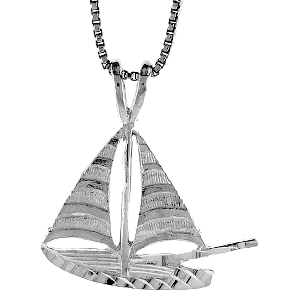 Sterling Silver Sailboat Pendant, 3/4 inch
